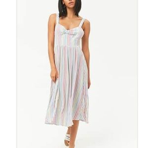 Forever 21 Gathered Striped Midi Dress